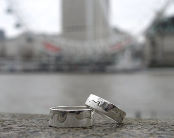 Handmade Silver River Thames London Ring
