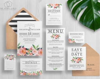 Wedding Invitation Suite Floral Watercolor | Wedding Suite | Save the Date | Custom | Invite Set | Blush Flowers | Arianna Suite