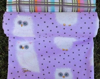 Lavender White Owls & Plaids Baby Blanket, Receiving Swaddling Swaddle Cuddle, Set of 2 or Buy Individually, Bibs Burp Cloth Bandana