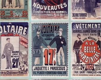 Antique French Posters - Men Fashion Advertising - Antique Style - 9 different designs - 1 Printable Sheet of ACEO - ATC Card