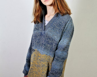 Wheat Field with Crows,  Polo neck sweater,  Women's sweater,  Long sleeves,   OOAK ,   Colorful sweater, Winter sweater,   Ready to ship
