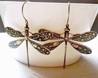 Dragonfly Earrings Large Statement Earrings Boho Jewellery.  Festival Earrings Gift for Her
