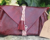 Handmade Leather OxbloodBurgundy Panelled Tassel Boho ChicFestivalVintage Style Small Clutch Bag Made From 100 Recycled Materials
