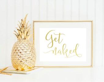 Get Naked Foil Wall Art! Bathroom Prints, Real foil - Choose any color
