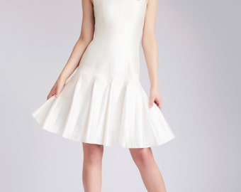 Silk short wedding dress with full skirt, Ivory dress, Backless dress - Pari dress by Hanieh Fashion - Free Shipping!