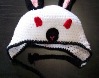 Crochet Rabbit Hat, Himalayan Rabbit, Californian Rabbit, Crochet Bunny Hat, ARBA Rabbit Breeder, Handmade Rabbit Hat, Albino Rabbit