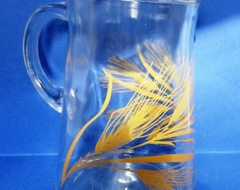 Vintage Libby Glass Wheat Design, Clear Glass Pitcher with Ice Lip 1960's