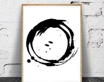 Minimalist Print, Black and White Print, Minimalist Artwork, Circle Prints, Circle Artwork, Circle Printables, Minimalist Printables