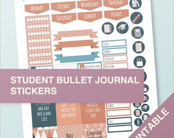 Student stickers - A4 - printable, print at home, digital prints - erin condren - bullet journal - color variation 01