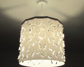 White Butterflies cut out Lampshade ceiling pendant light shade + Magnetic Ereki Set