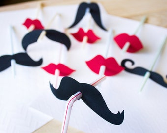 Set of 10 Lip and Mustache Straws // Mustache Party Decor // Lip Straws // Mustache Straws
