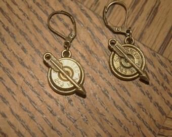 243 brass bullet earrings