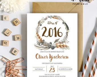 Watercolor Boho Feather Graduation Invitation | Class of 2016 | 5x7 | Editable PDF | Instant Download | DIY at home with Adobe Reader
