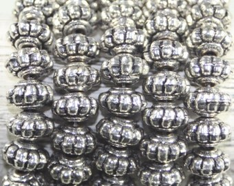 Sterling Plated Fluted Rondell Beads, 8 Inches