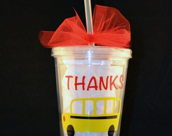 Bus Driver Personalized Tumbler Cup with Lid and Straw