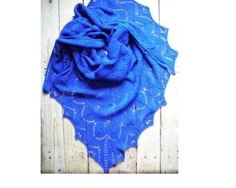 lace shawl, Hand Knit Shawl,triangular shawl, knitted blue lace shawl, knitted blue wrap, cornflower blue shawl, knitted lace shawl