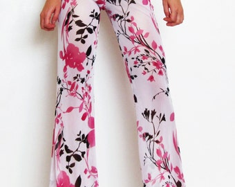 Custom Pink Floral Print Bell Bottom Pants/Flare/ Boho/ Festival/ Hippie/ Dance/Gypsy/ Beach Cover Up/ Burning Man/Coachella/ Playa Attire