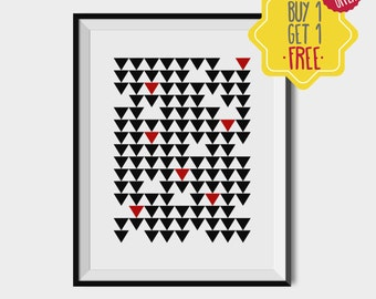 Geometric wall art, black and white artwork, buy one get one free, teen room art, pattern print, birthday gift, printable abstract art