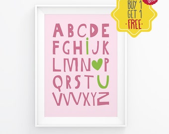 Alphabet letters for wall, baby girl nursery decor,pink color,letters decor for nursery,classroom decor kindergarten,I love you,poster print