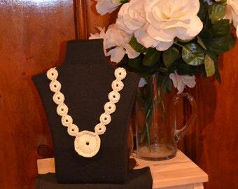 Crochet Circle Pendant Necklace