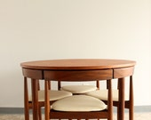 RESERVED FOR REGAN-Vintage Hans Olsen Frem Rojle Teak Dining Table and Chairs, Seats 4, Three Legged Chairs, Compact Solid Top Style