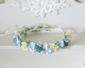 Light blue Crown wedding flower crown Flower Girl halo Blue floral hair wreath Hydrangea crown bridal Roses headband Boho wedding halo
