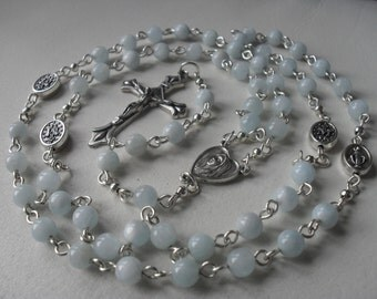 Aquamarine Rosary, Rosary Beads UK, Handmade Rosary Beads, Holy Communion Rosary, Confirmation Rosary.