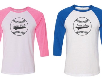 Gender Reveal Baseball. Gender Reveal Shirt. Gender Reveal. Mommy Daddy Shirts. Baseball Shirt. Mom and Dad Shirts. Team Pink Team Blue.