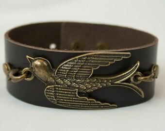 Bird Leather Cuff Bracelet
