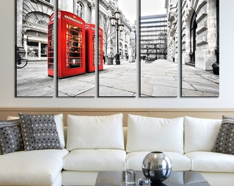 Red Telephone Box in London Canvas Art Print, London Skyline Canvas Wall Art Print No:084