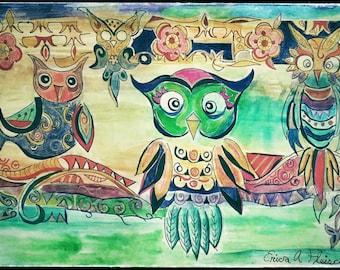 Three bright owls