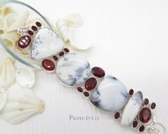 Dendritic Agate and Garnet Sterling Silver Bracelet