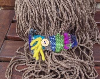 Handwoven Freestyle Wood Button Barrette -- Multicolored