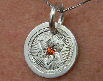 "Hand Engraved Sterling Silver Pendant with ""Star-Set"" Poppy Topaz Stone"