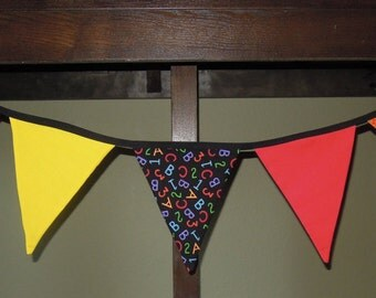 Back To School, Classroom, Teacher, Decor, School, Day Care, Red, Yellow, Green, Bunting Fabric Banner