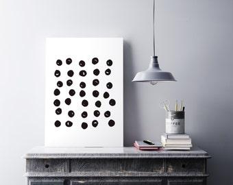 Abstract circle print - Scandinavian print - Black and white print - Monochrome decor - Printable decor - Pattern art print - Printable art