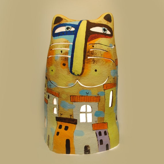 Cat lamp floor lamp paper mache lamp night light for How to make paper mache lamps