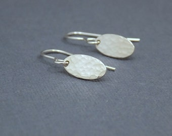 """Tiny Silver Earrings. Free Shipping. Hammered Sterling Silver. Leverback. Lever Back. Small Oval. Dangle Drop Earrings. Simple Jewelry. 1/2"""""""