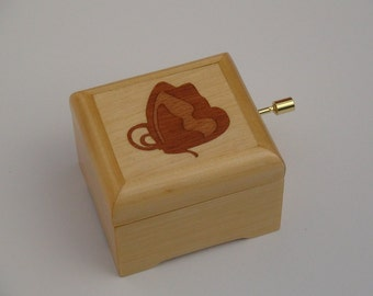 Butterfly marquetry inlay music box, Customise or personalise music box available, handcrafted wooden music box with selected tune from list