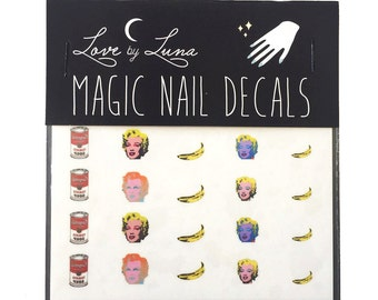 Andy Warhol Nail Decal / Campbell's Soup / Soup Can / Marilyn Monroe / Banana / Nail Wraps / Nail Art / Pop Art