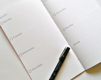 WEEK on Two Pages -FULL YEAR - Traveler's Notebook - Horizontal Weekly Calendar Insert - Midori Calendar Insert - Weekly Planner- WO2P -C004