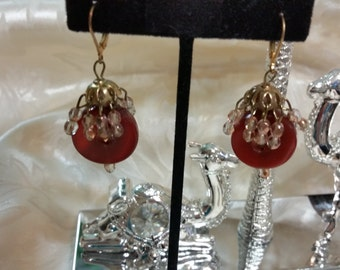 Carnelian & 2-Tone Copper Crystal Earrings