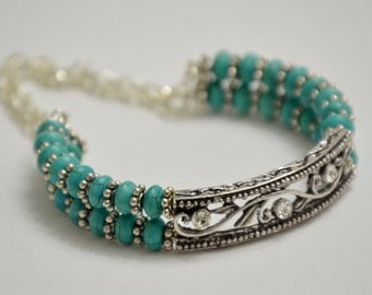 Turquoise & Silver Memory Wire Bracelet