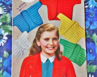 Vintage Weldon Knitting Pattern - 1950's - Pattern no. B1204 - Boleros for Girls - used