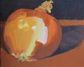 Onion, still life, oil painting, realism, kitchen art, food art, impressionism, small art