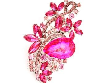 Pink Silver Rhinestone Brooch Crystal Brooch Wedding Accessories Bridal Brooch bouquet Hair comb