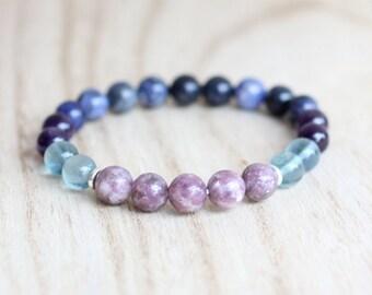 Third Eye Chakra Bracelet. Lepidolite Bracelet. Sodalite Bracelet. Fluorite Bracelet. Amethyst Bracelet. Protection Bracelet. Psychic