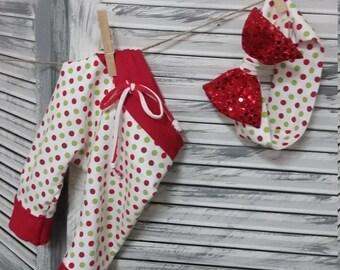 Christmas polka-dot christmas legging set