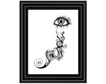 Printable Art Download - Eye Art Print - PDF Printable Art - Instant Download - Swirly Eye - Drawing - Eye Wall Art - Eye Home Decor
