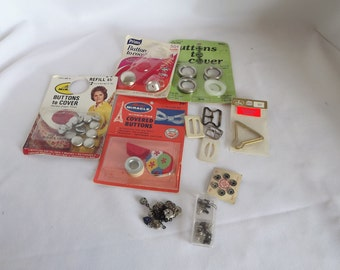 Vintage Sewing Lot - Buttons to Cover, Covered Buttons, Clothing Snaps, Buckles, Buttons, Fasteners, Sewing Notions,